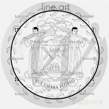 Belize coat of arms - Line Art